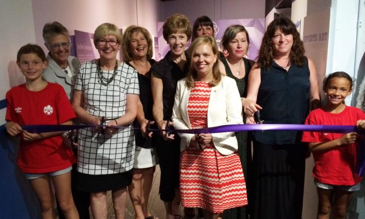 The Ribbon Cutting at the new In Her Footsteps Exhibit