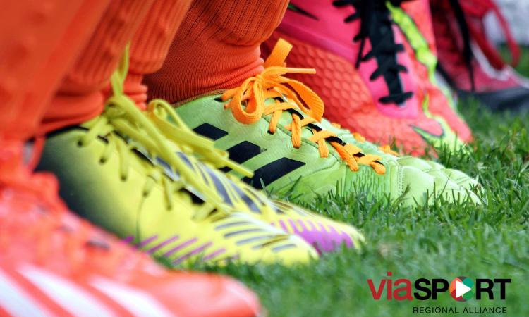 A line up of soccer shoes