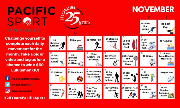 Pacific Sport November movement calendar