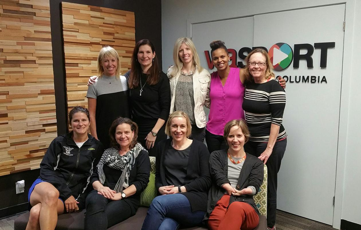 Left to right: (Back row) Joan Wharf Higgins, Shaunna Taylor, Robyn Butler, Karina LeBlanc, Loreen Barnett, (Bottom row) Dominique Falls, Bryna Kopelow, Allison Forsyth, Elisabeth Walker-Young.
