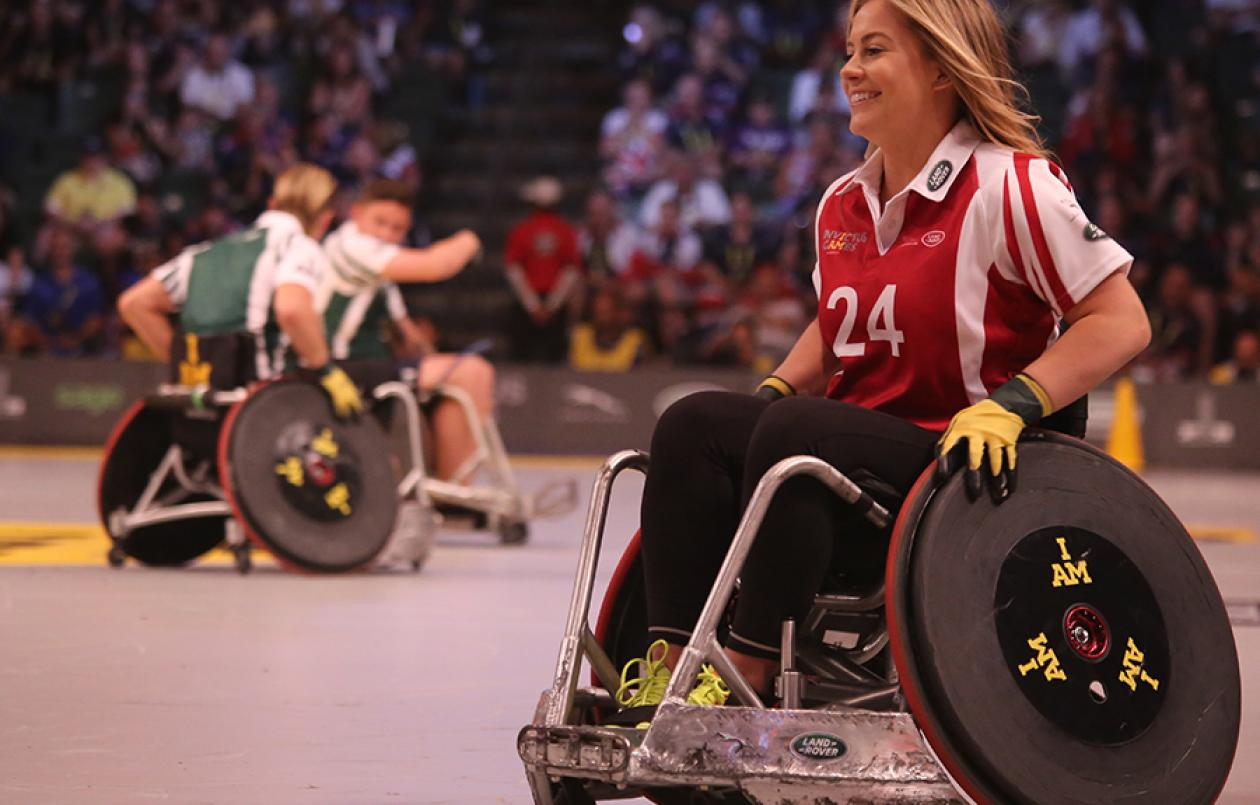 Woman playing wheelchair rugby