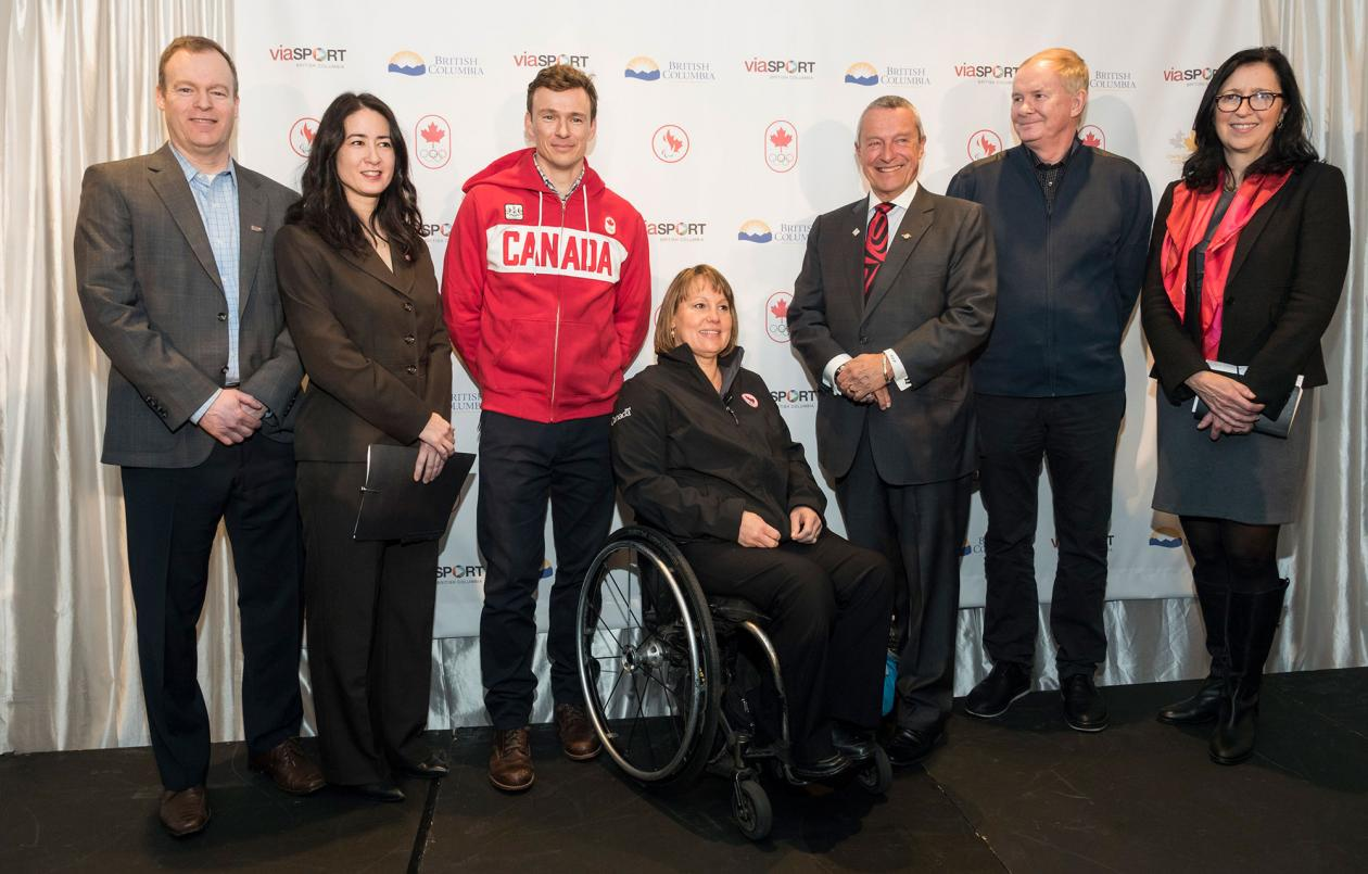 MOU partner signing featuring: Caley Denton (Chair, viaSport), Gail Hamamoto (Director, Canadian Paralympic Commitee Board), Simon Whitfield (Four-time Olympian, Triathlon), Marni Abbott-Peter (Four-time Paralympian)