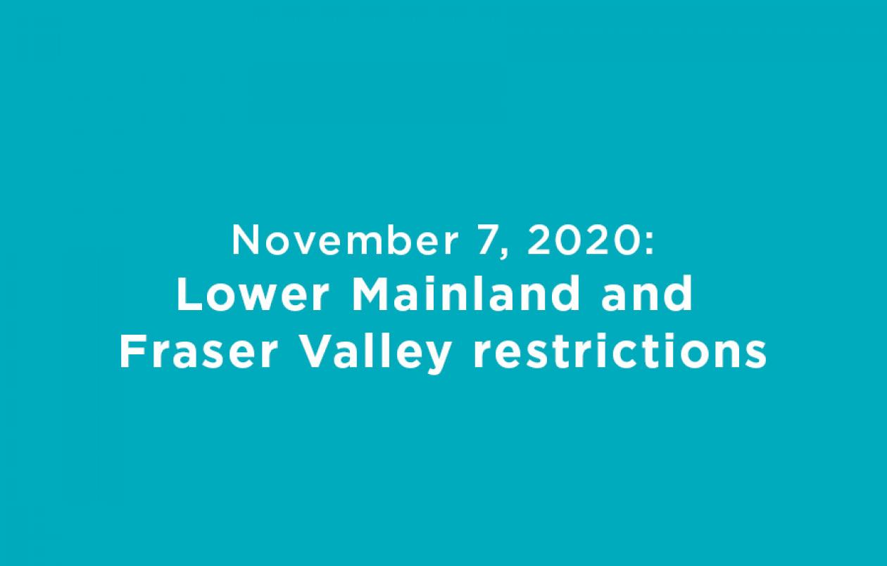 November 7, 2020 Lower Mainland Restrictions